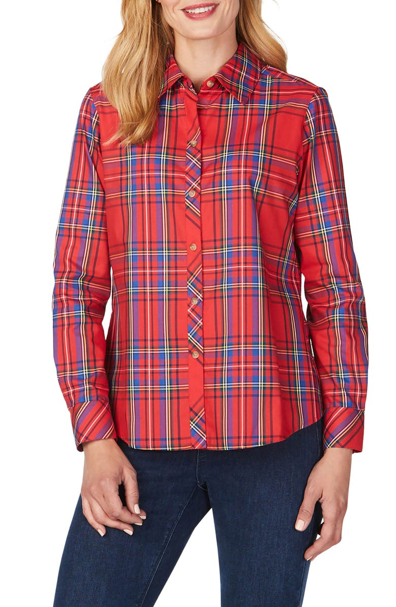 FOXCROFT Diane Emerson Tartan Shirt, Main, color, CHRISTMAS RED