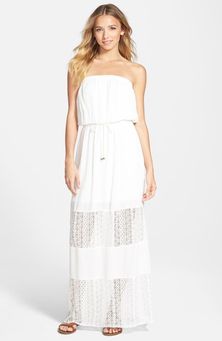 SOCIALITE Lace Inset Maxi Dress, Main, color, 100