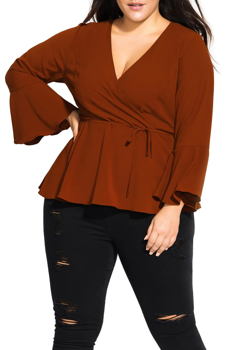 CITY CHIC Sweetly Tied Top, Main, color, SPICE