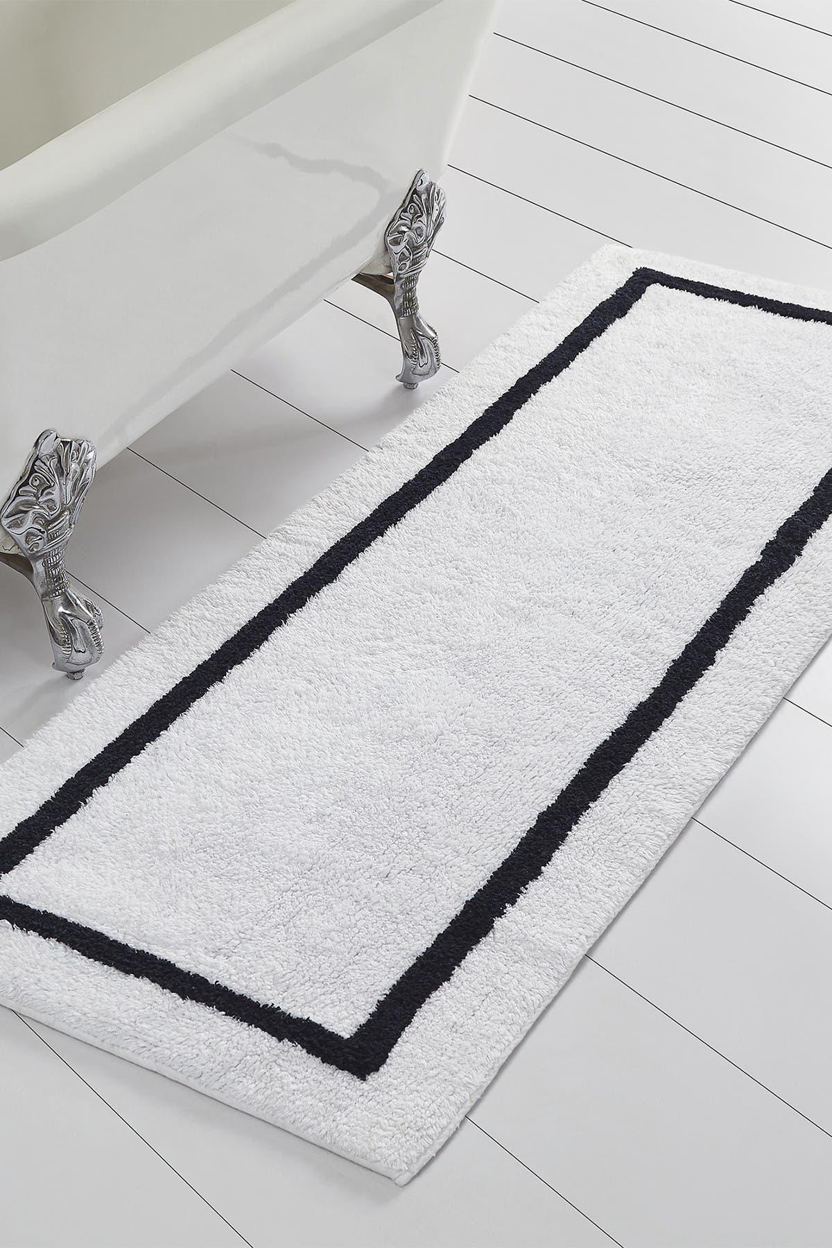 Modern Threads Black Reversible Contrast Stripe Bath Runner at Nordstrom Rack