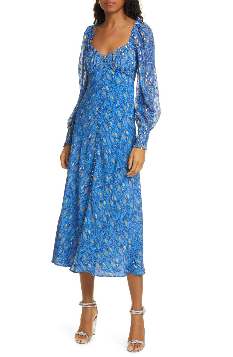 RIXO Miriam Fil Coupé Long Sleeve Midi Dress, Main, color, KLIMT EYE WAVE - BLUE GOLD