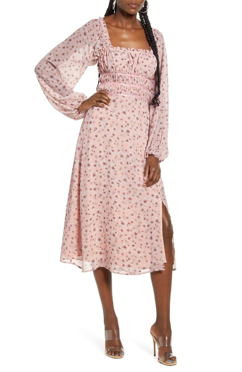 WAYF x Influencing in Color Liza Smocked Long Sleeve Midi Dress, Main, color, BLUSH DAISY