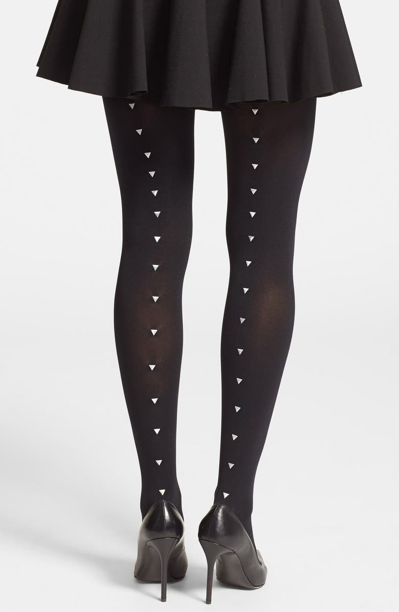 VINCE CAMUTO Studded Back Seam Tights, Main, color, 001