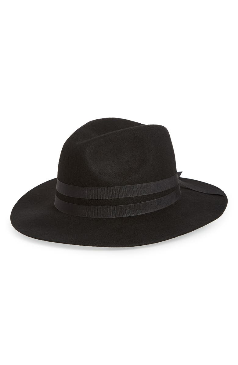 NORDSTROM Floppy Wool Panama Hat, Main, color, BLACK