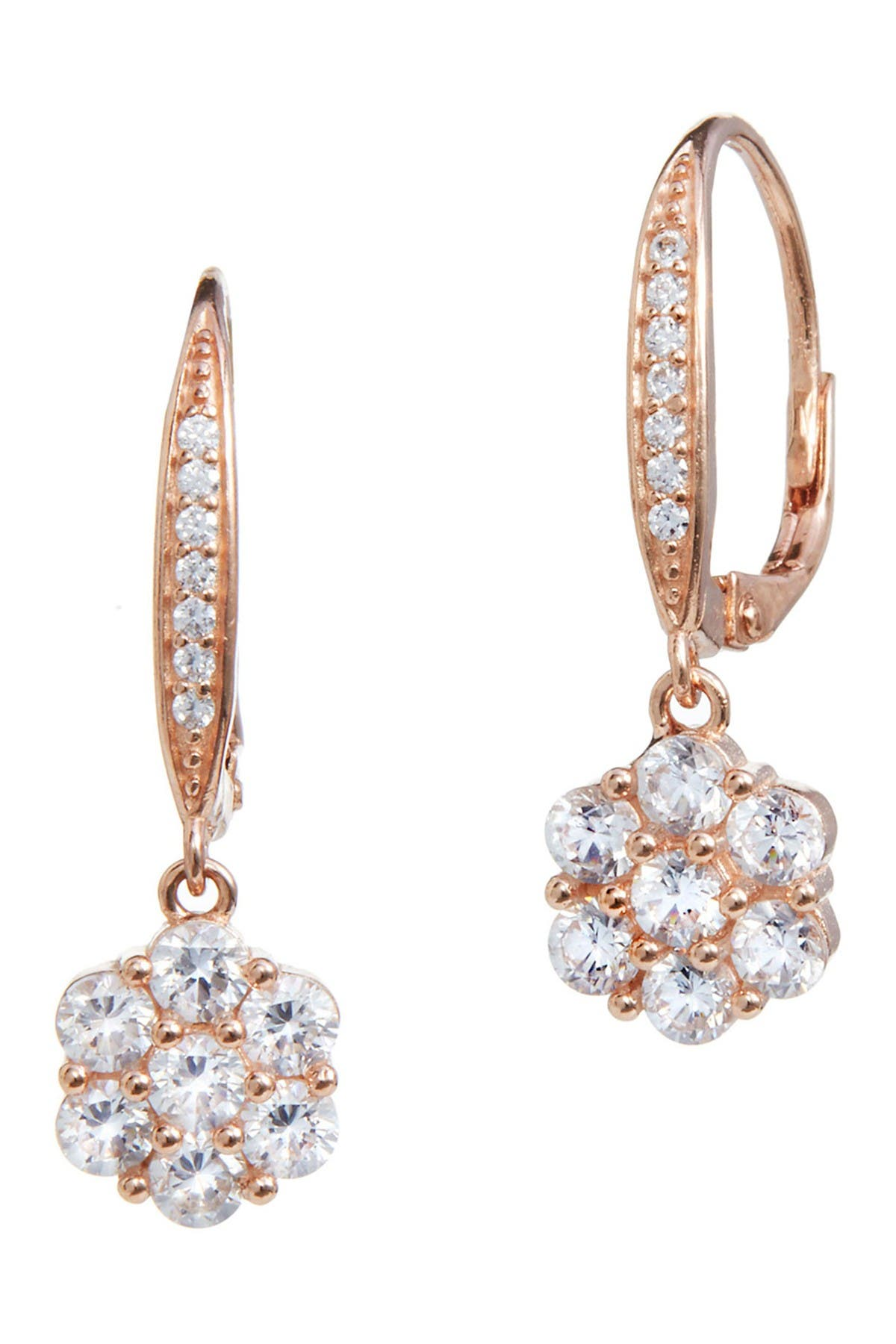 Image of Savvy Cie 18K Rose Gold Vermeil Sterling Silver CZ Drop Earrings