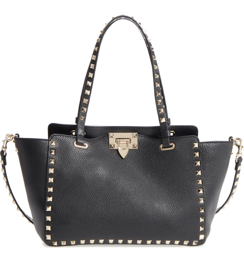 VALENTINO GARAVANI Rockstud Leather Tote, Main, color, NERO