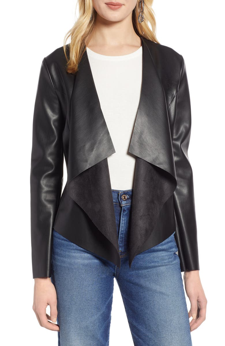 HALOGEN<SUP>®</SUP> Drape Faux Leather Jacket, Main, color, 001