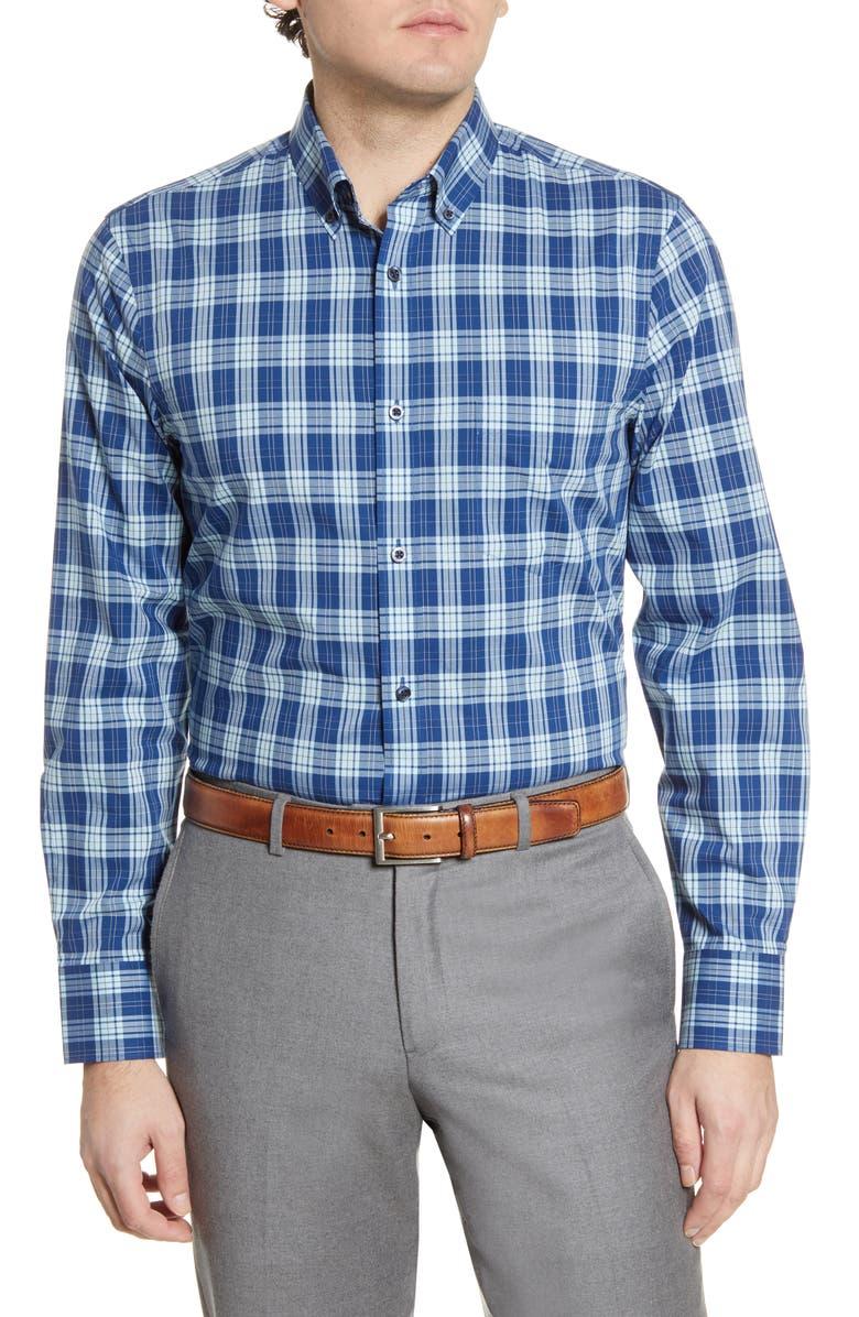 NORDSTROM MEN'S SHOP Tech-Smart Regular Fit Walter Plaid Button-Down Shirt, Main, color, 420