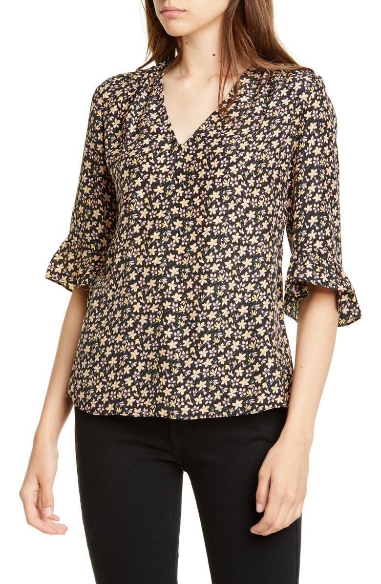 REBECCA TAYLOR Louisa Floral Print Silk Top, Main, color, YELLOW