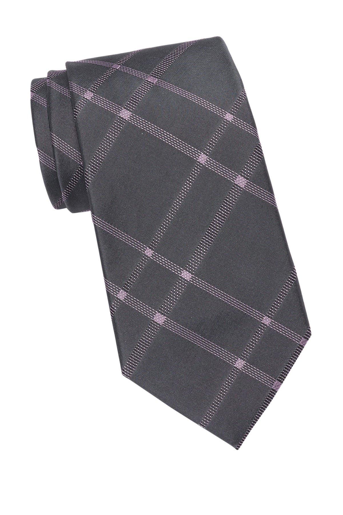 Image of Calvin Klein Stitch Plaid Silk Tie