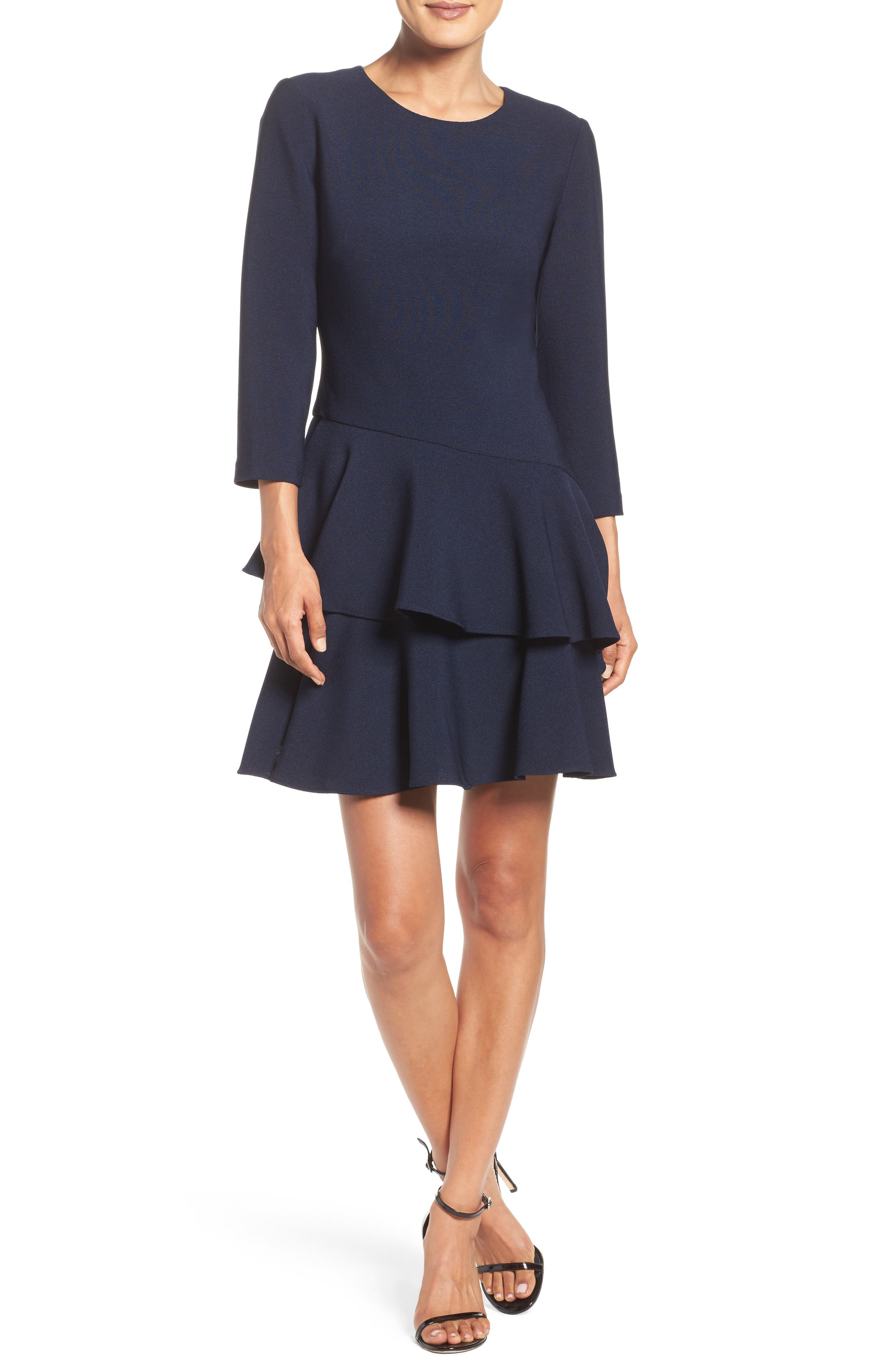 ,                             Tiered Ruffle Knit Dress,                             Alternate thumbnail 19, color,                             410