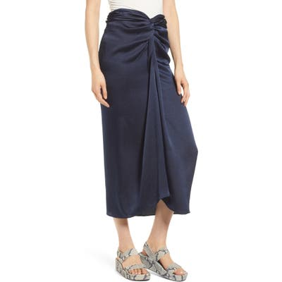 Scotch & Soda Twist Front Midi Skirt, Blue