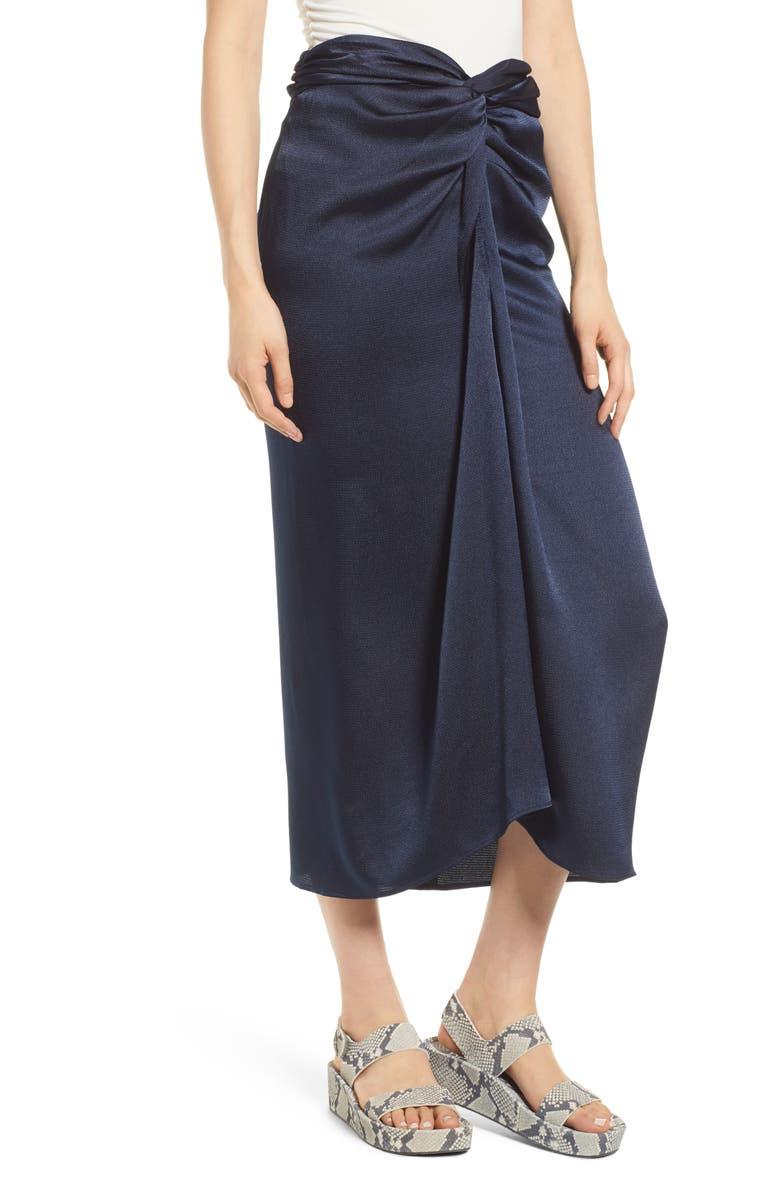 SCOTCH & SODA Twist Front Midi Skirt, Main, color, NIGHT