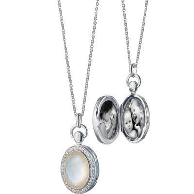 Monica Rich Kosann Rock Crystal Oval Locket Necklace