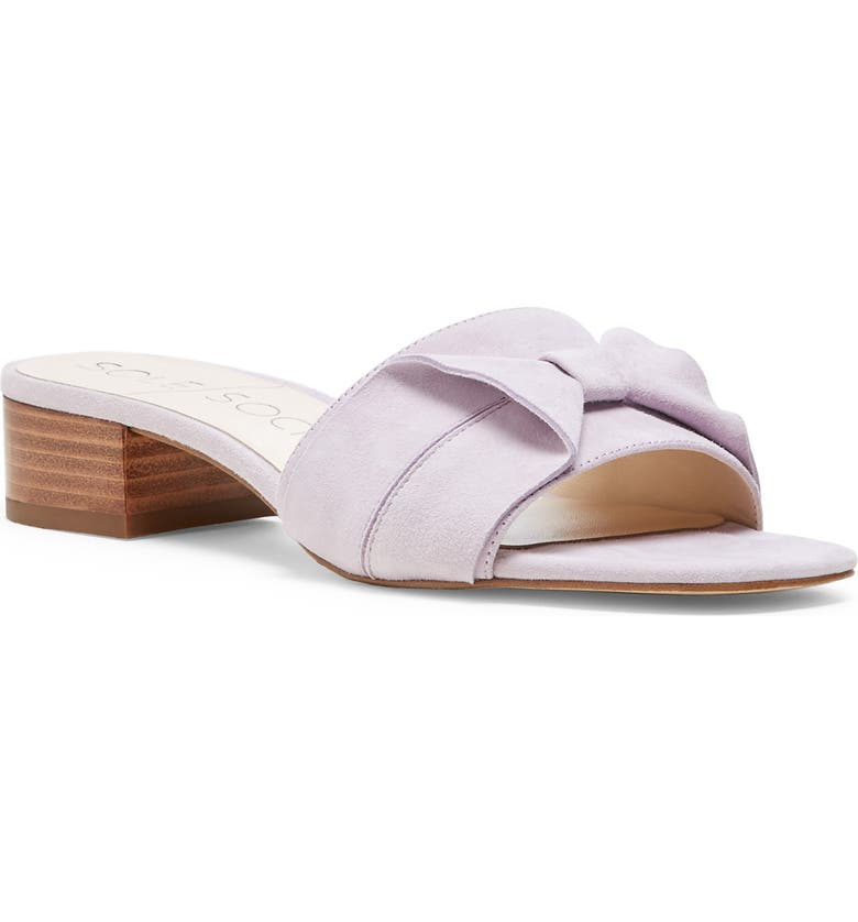 SOLE SOCIETY Erianna Bow Slide Sandal, Main, color, WASHED LAVENDER SUEDE