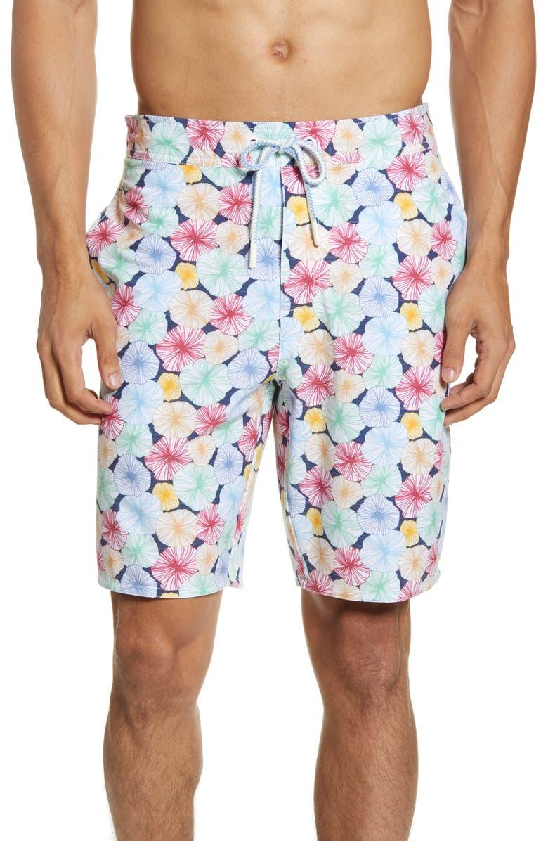 JOHNNIE-O Nevis Floral Swim Trunks, Main, color, TWILIGHT