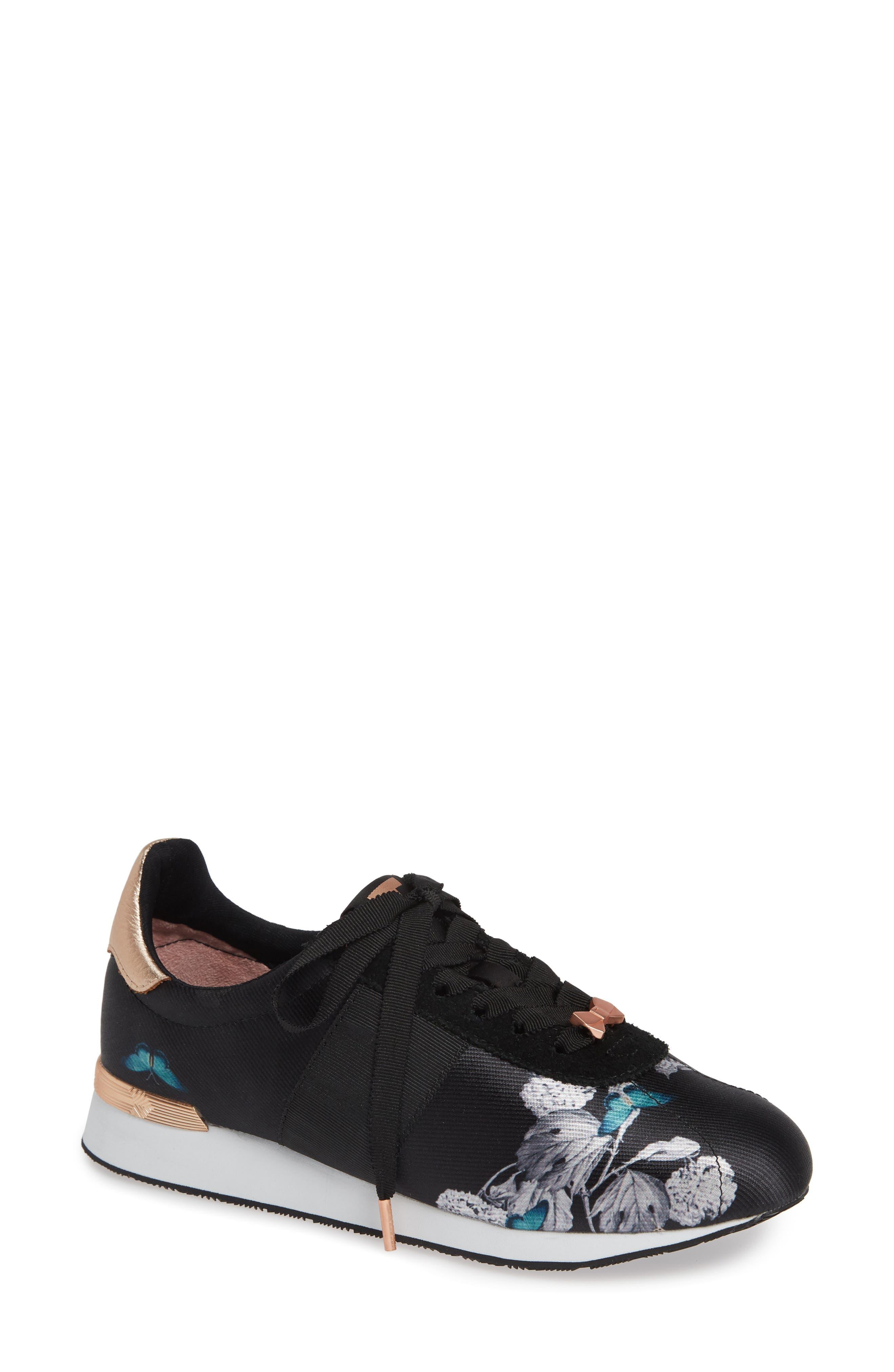 Ted Baker London Emelei 2 Floral Sneaker, Black