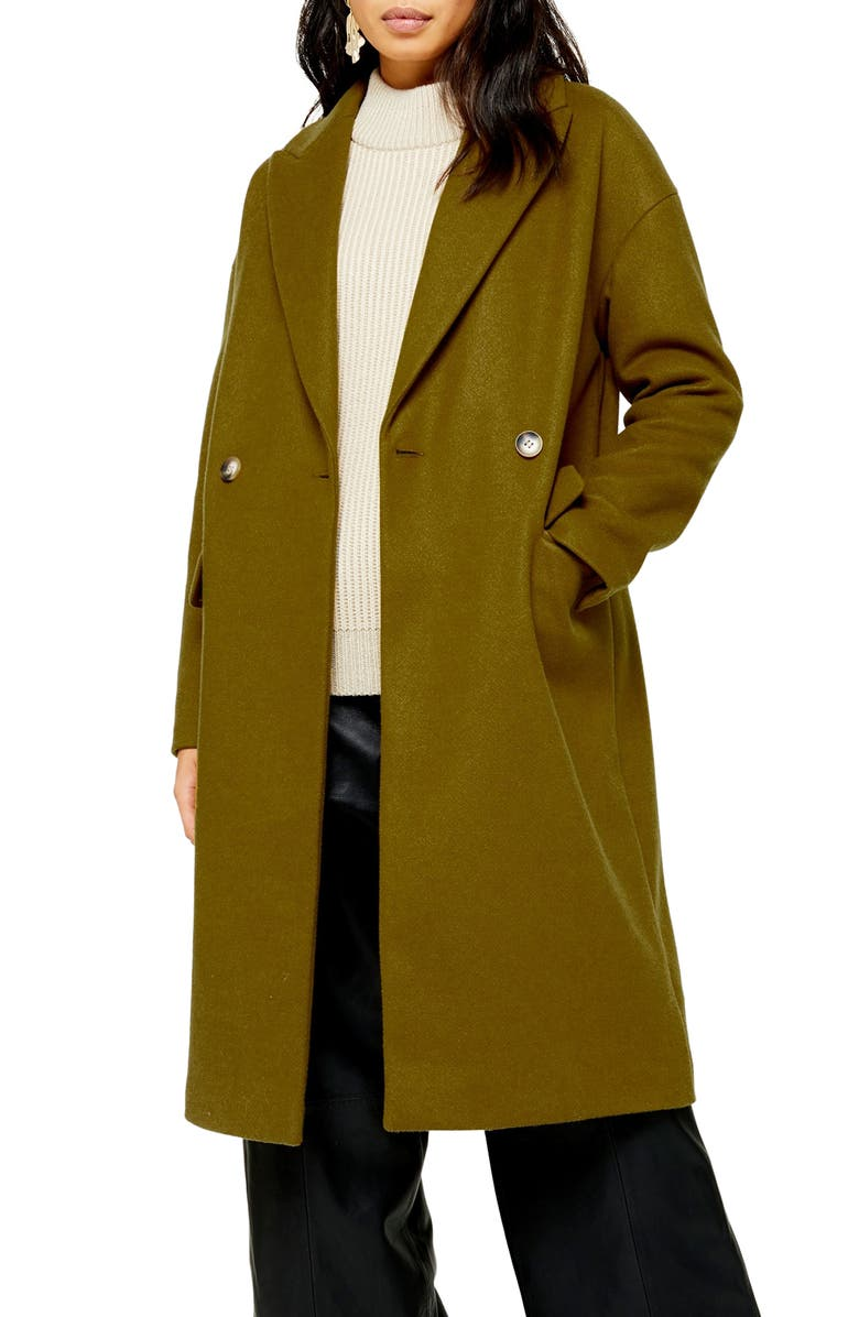 TOPSHOP Classic Double Breasted Coat, Main, color, OLIVE