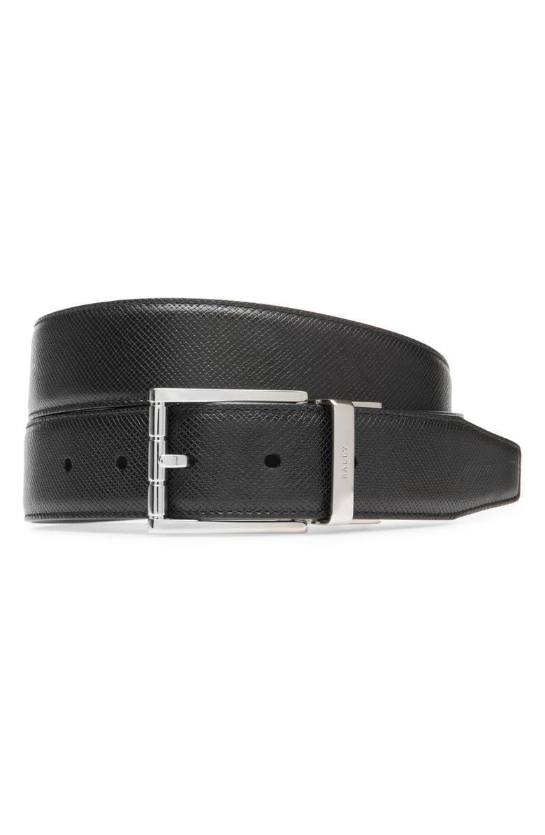 BALLY Astor Embossed Leather Belt, Main, color, BLACK