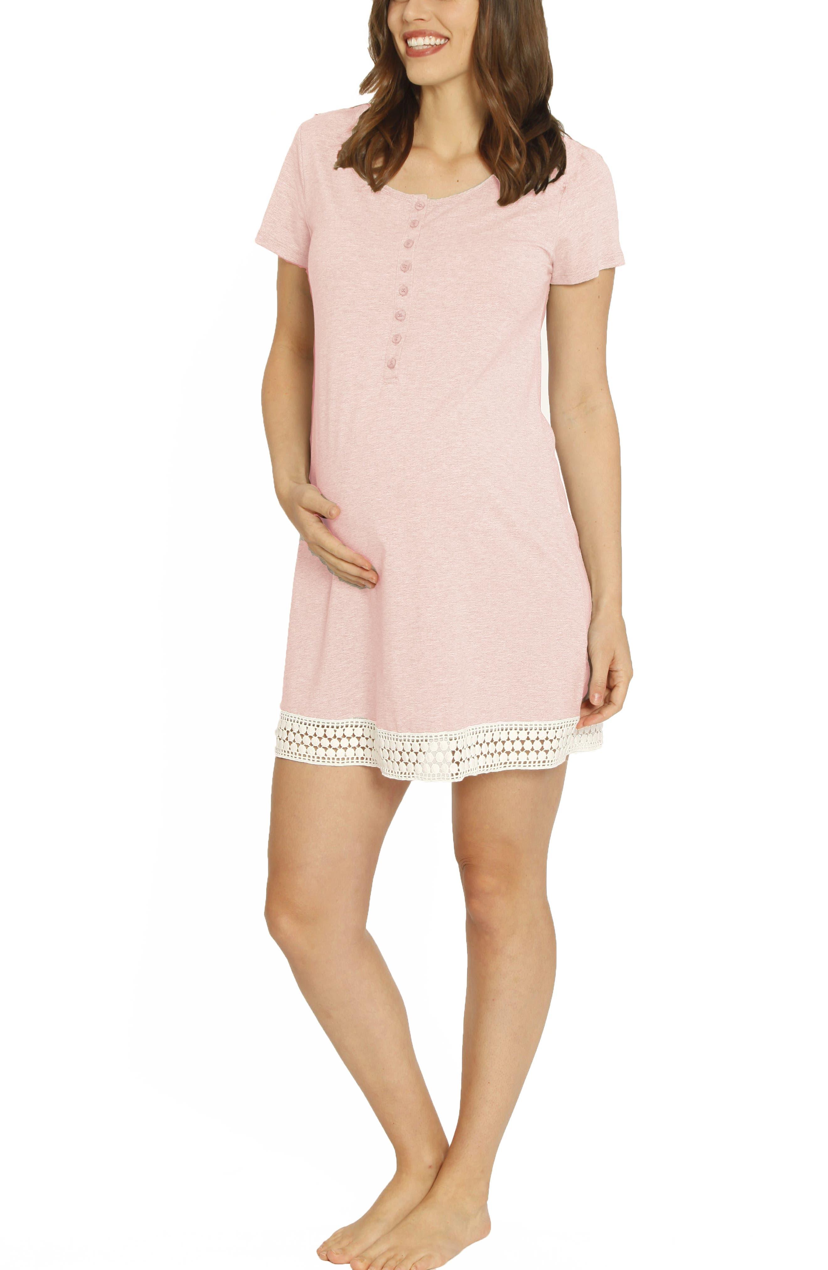 ,                             Ruby Joy Maternity/Nursing Sleep Shirt, Robe & Baby Blanket Pouch Set,                             Alternate thumbnail 4, color,                             PINK