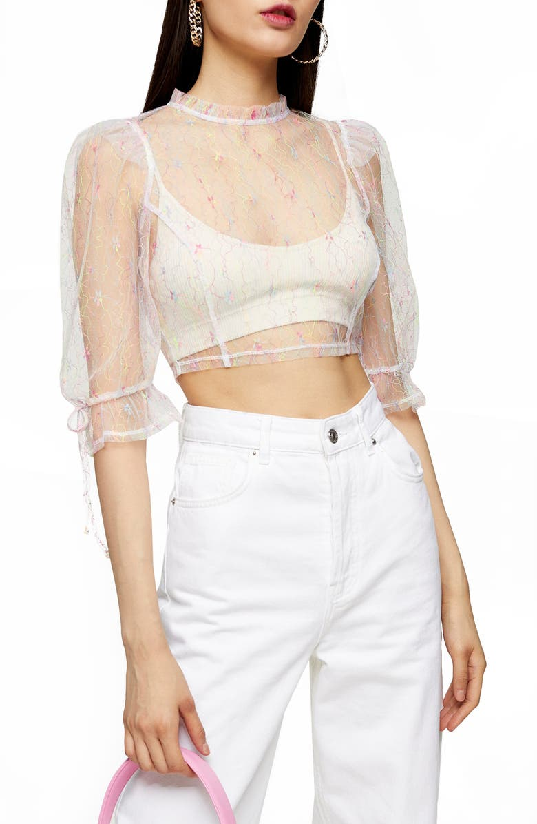 TOPSHOP Fluorescent Mesh Crop Top, Main, color, WHITE MULTI