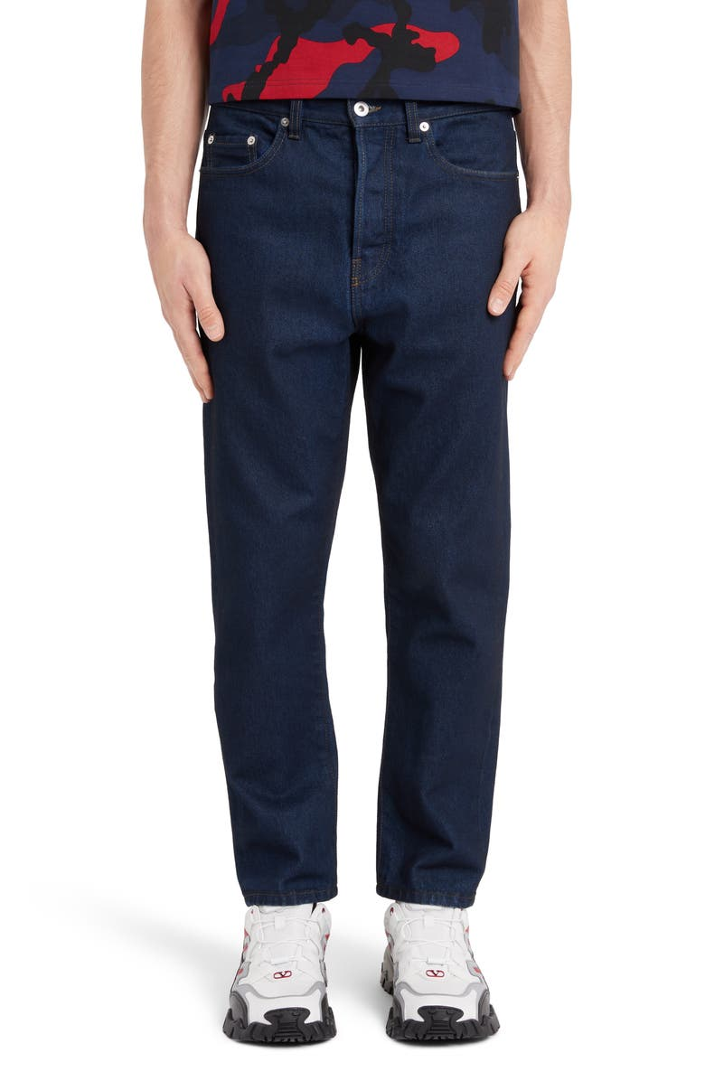 VALENTINO Logo Jeans, Main, color, NAVY/ RED