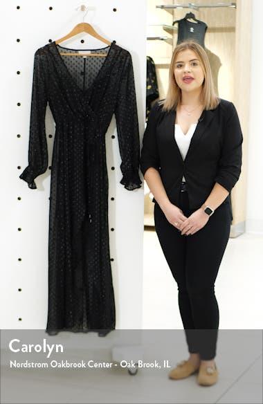Metallic Clip Dot Long Sleeve Maxi Dress, sales video thumbnail