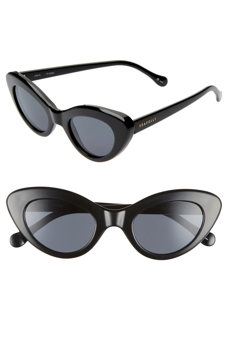 SEAFOLLY Airlie 48mm Cat Eye Sunglasses, Main, color, BLACK/ SMOKE