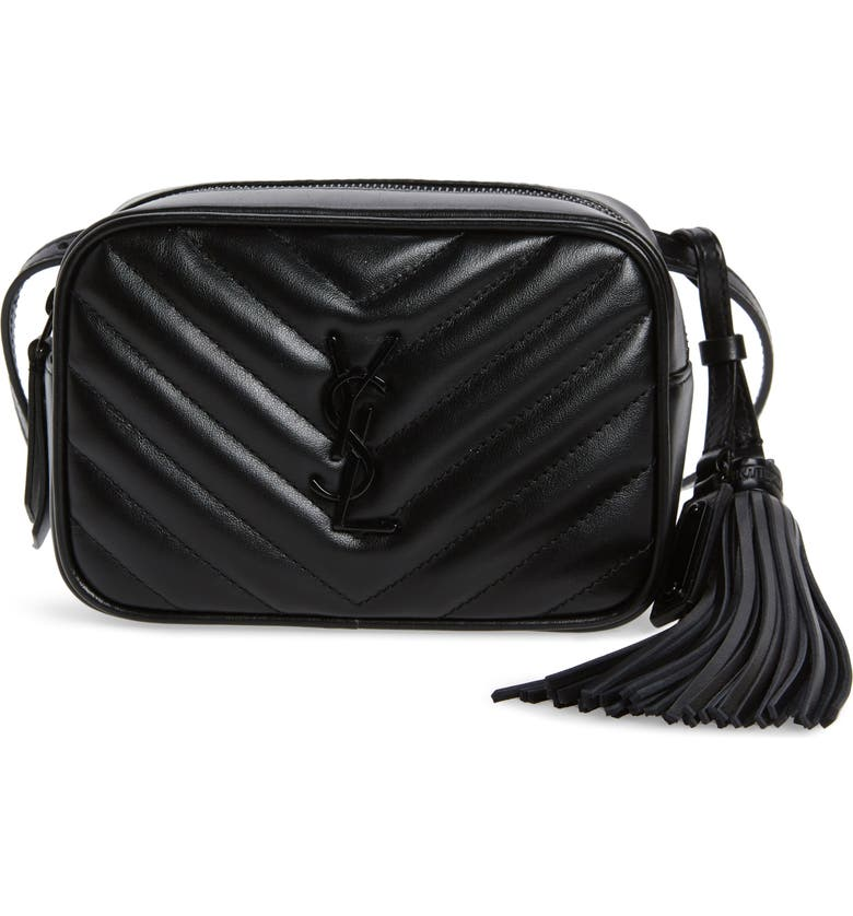 SAINT LAURENT Lou Matelassé Leather Belt Bag, Main, color, NOIR
