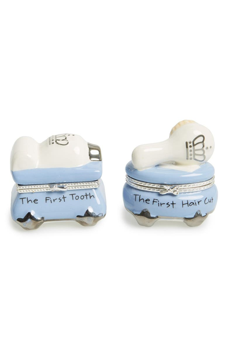 MUD PIE 'Prince' First Tooth & Curl Treasure Box Set, Main, color, BLUE