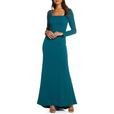 Eliza J Square Neck Long Sleeve Mermaid Gown, Blue/green
