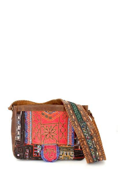 Image of Vintage Addiction Wide Decorative Strap Leather & Vintage Crossbody Bag