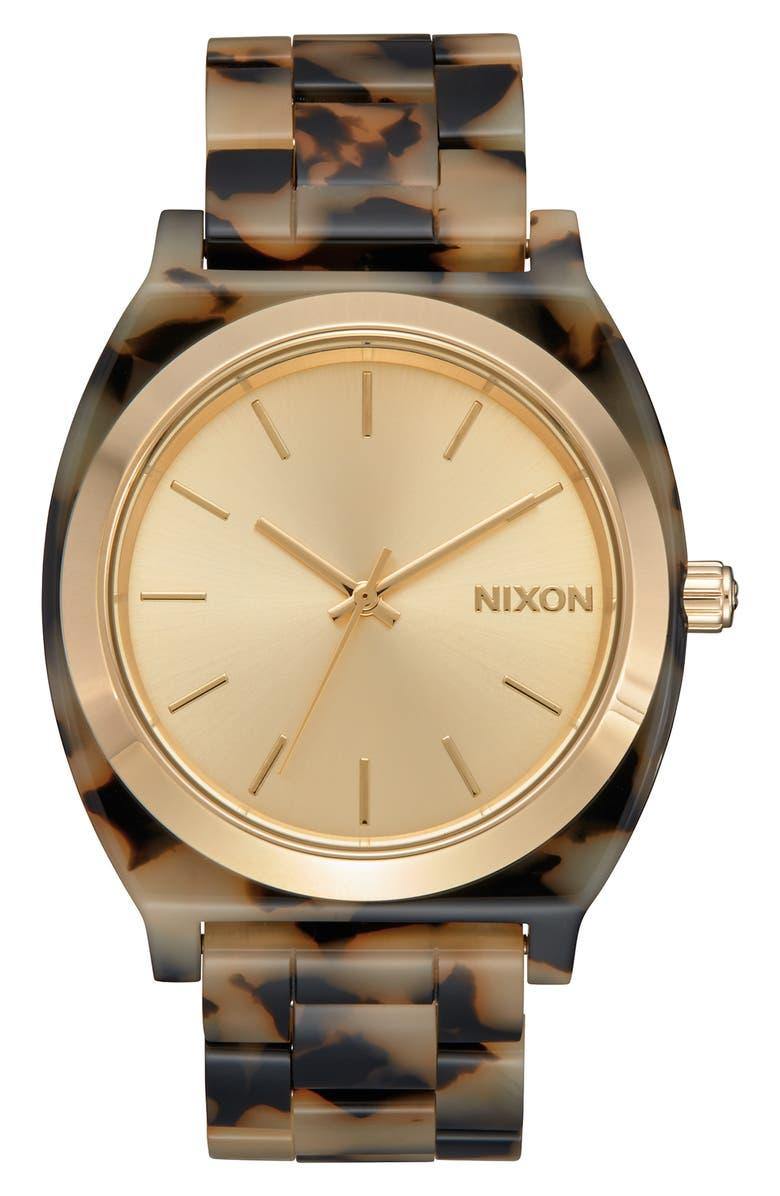 NIXON The Time Teller Acetate Bracelet Watch, 40mm, Main, color, CREAM TORTOISE/ ROSE GOLD