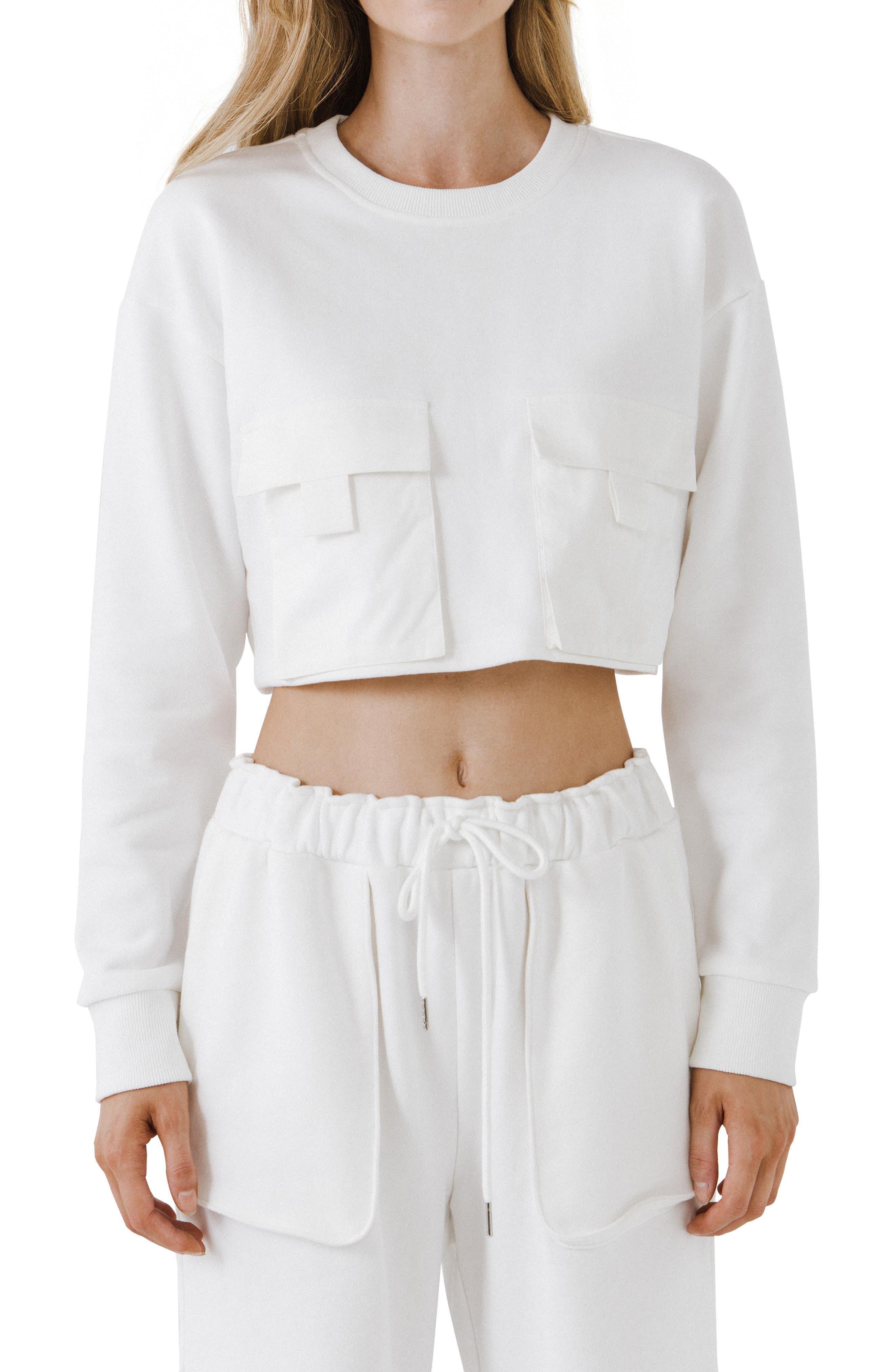 Crop Pocket Cotton Sweatshirt