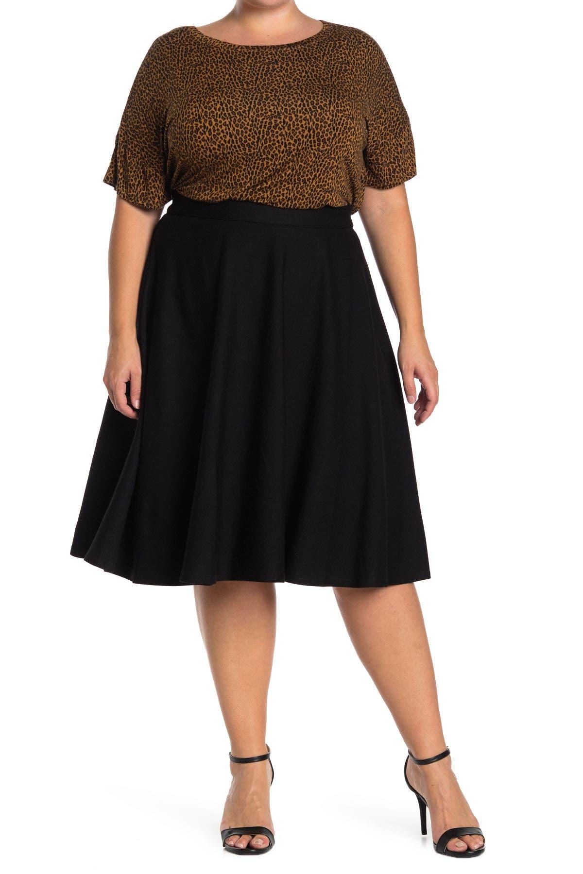 Image of ELOQUII Ponte Circle Skirt
