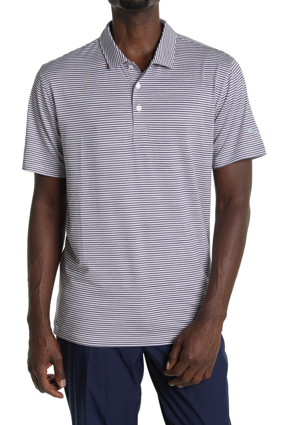 Image of PUMA Caddie Dark Purple Stripe Golf Polo