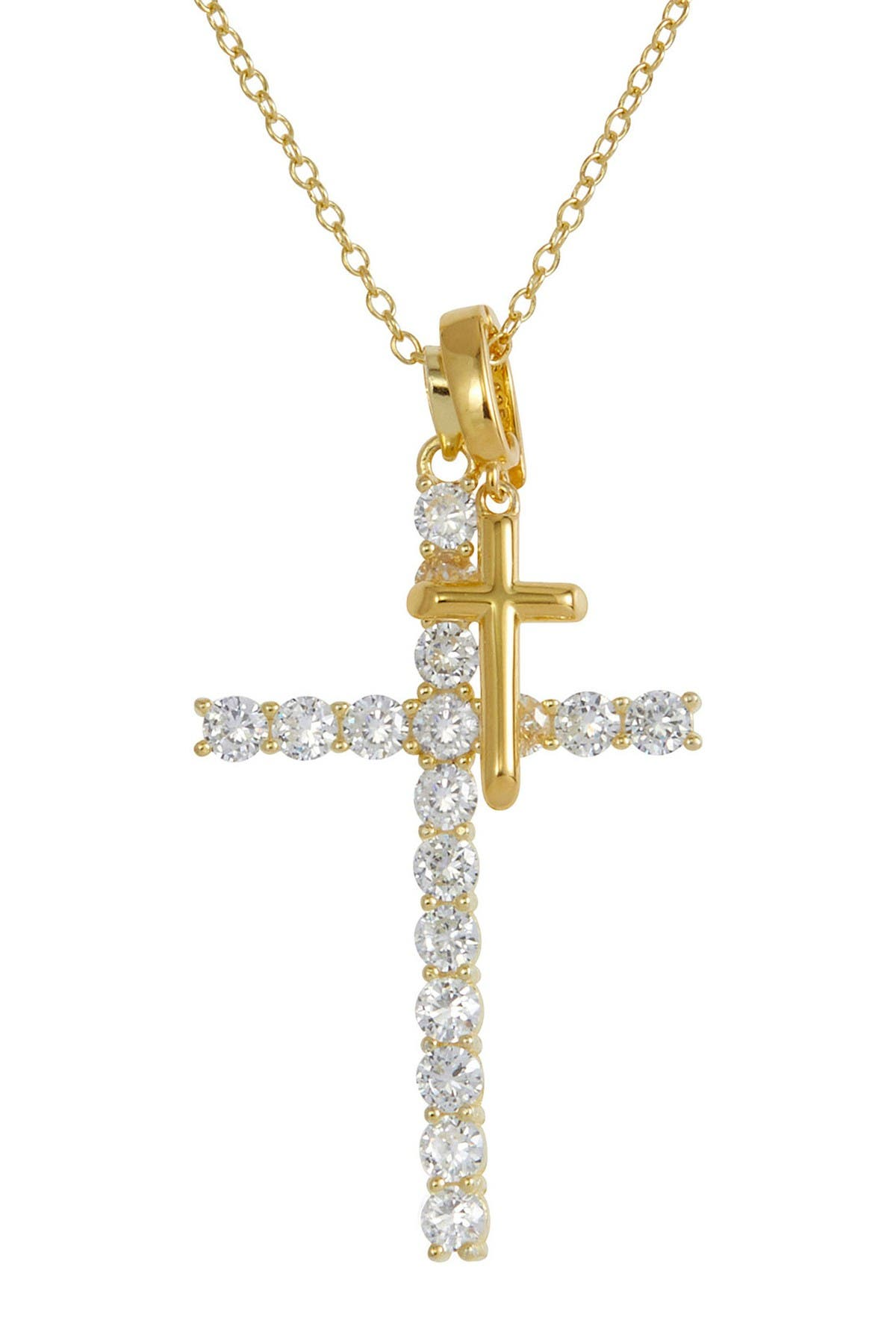 Image of Savvy Cie 18K Gold Vermeil Double Cross CZ Pendant Necklace
