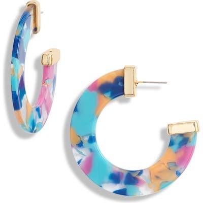 Sterling Forever Cap Resin Hoop Earrings