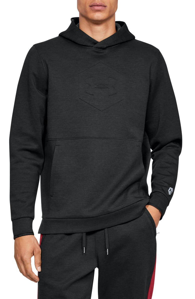 UNDER ARMOUR Athlete Recovery Warm-Up Hoodie, Main, color, BLACK/ BLACK/ METALLIC SILVER