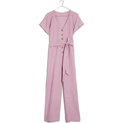 Madewell Pleated Sleeve Linen & Cotton Jumpsuit