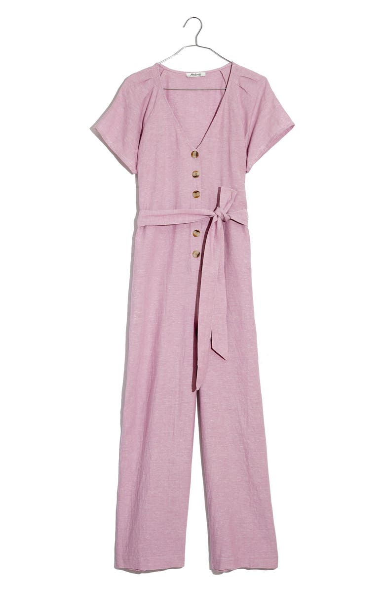 MADEWELL Pleated Sleeve Linen & Cotton Jumpsuit, Main, color, 650