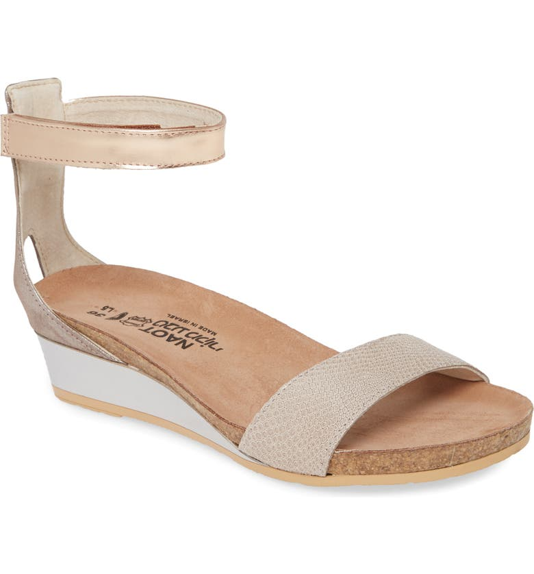NAOT 'Pixie' Sandal, Main, color, BEIGE LIZARD/ SILVER LEATHER