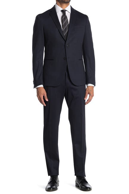 Image of BOSS Blue Plaid Two Button Notch Lapel Suit