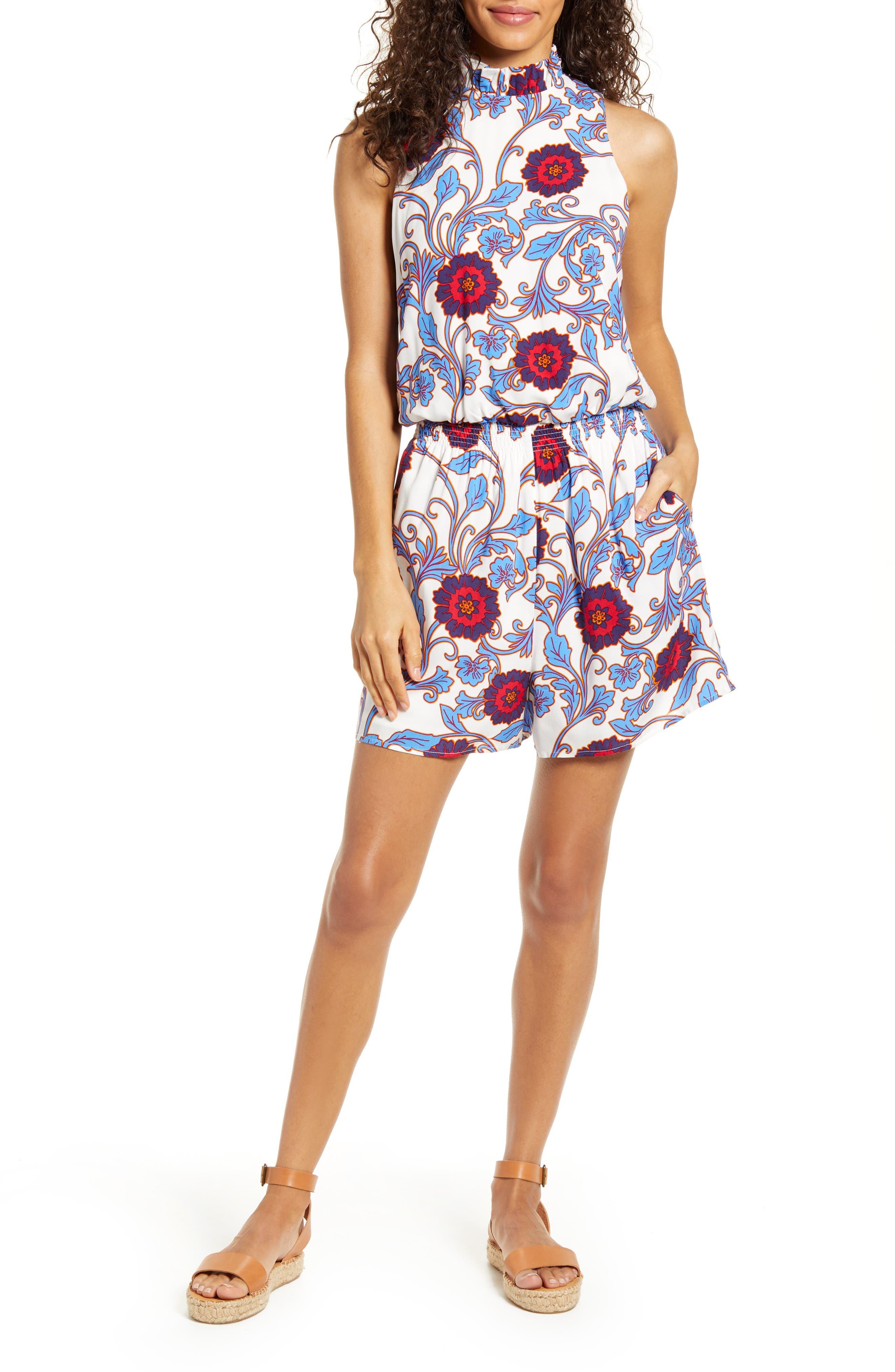 70s Shorts | Denim, High Rise, Athletic Womens Gibson X Hi Sugarplum Capri Smocked Waist Romper $78.00 AT vintagedancer.com