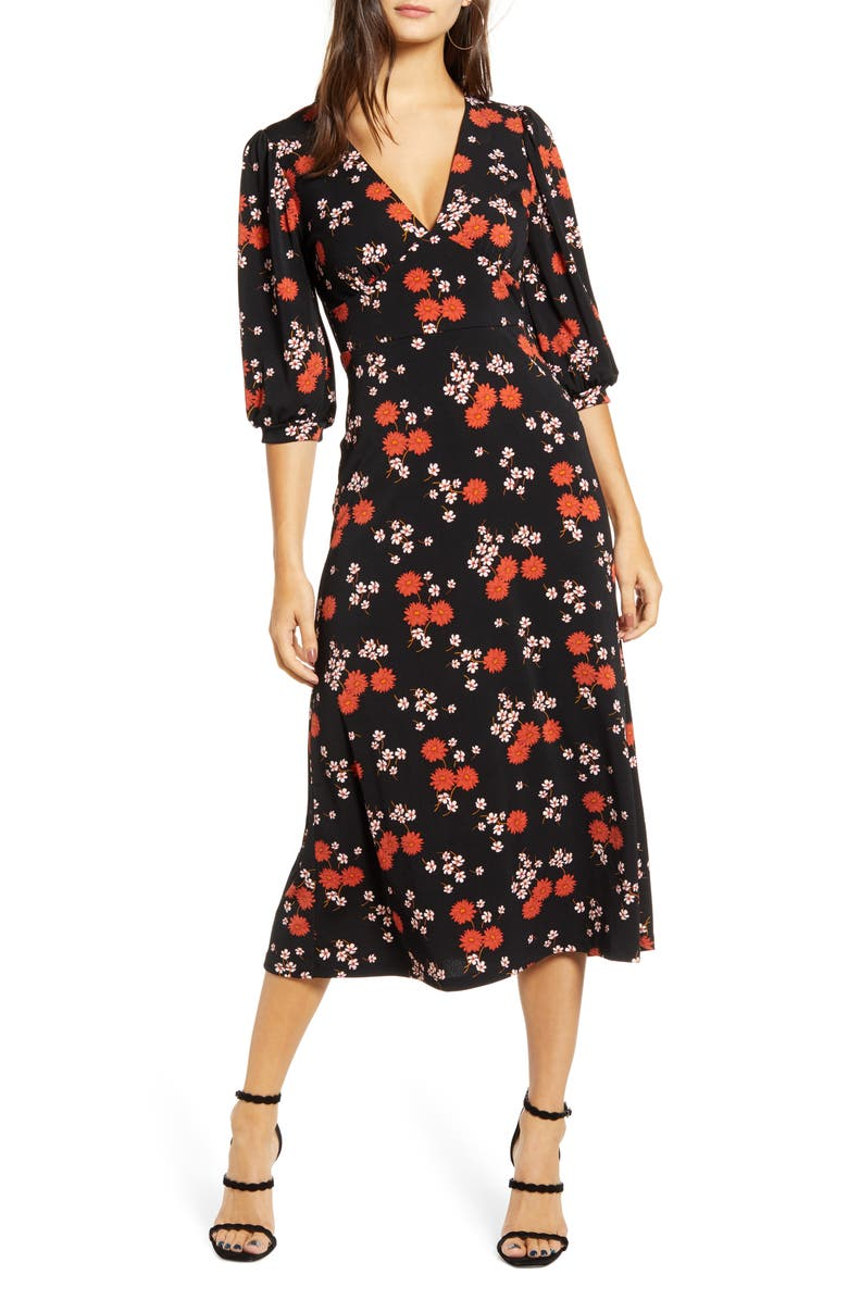 ALL IN FAVOR Print Blouson Sleeve Midi Dress, Main, color, BLACK/ RED FLORAL