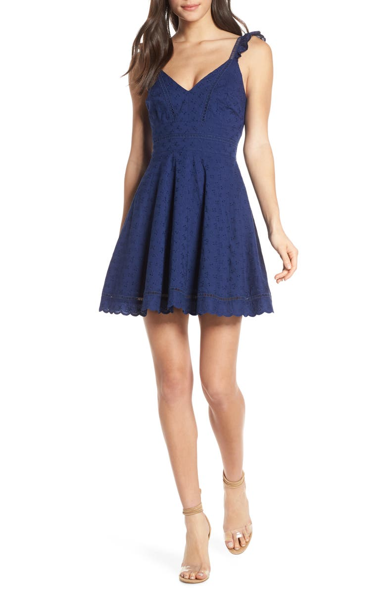 BB DAKOTA Eyelet You Win Fit & Flare Dress, Main, color, VINTAGE BLUE