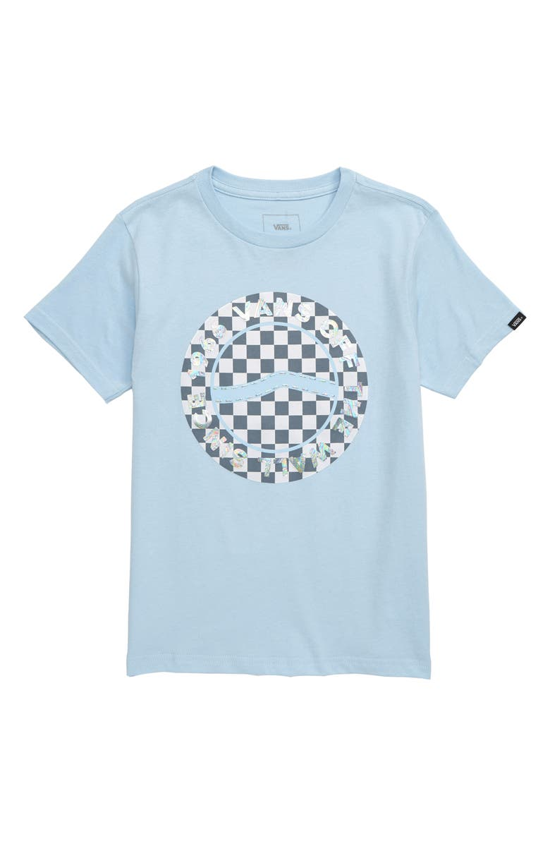 VANS Iridescent Checkerboard Logo Graphic Tee, Main, color, DREAM BLUE
