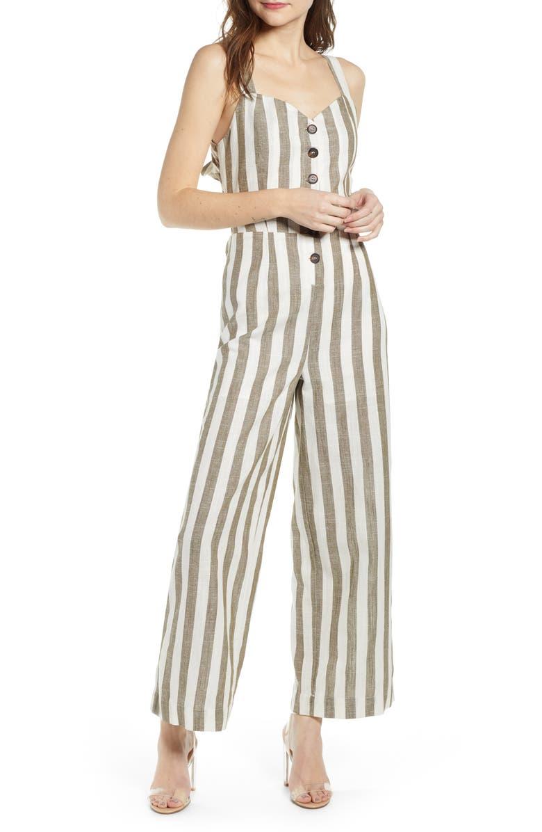 J.O.A. Stripe Cotton & Linen Jumpsuit, Main, color, 300