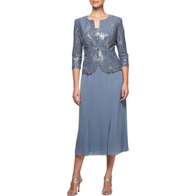 Petite Alex Evenings Midi Dress & Jacket, Blue