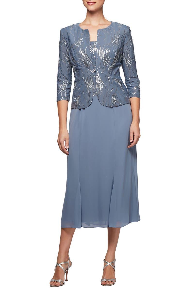 ALEX EVENINGS Midi Dress & Jacket, Main, color, STEEL BLUE